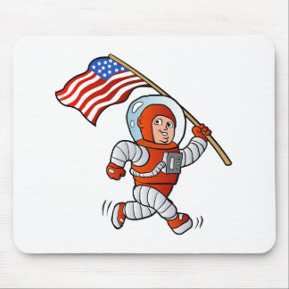 Astronaut with american flag mouse pad