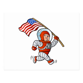 Astronaut with american flag postcard