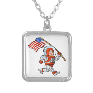 Astronaut with american flag silver plated necklace