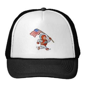 Astronaut with american flag trucker hat