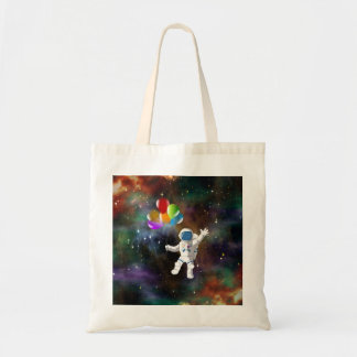 Astronaut with Balloons Tote Bag