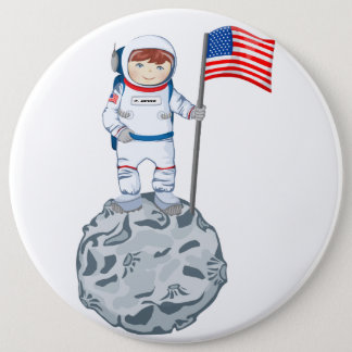 Astronaut with name tag 6 inch round button