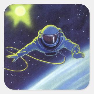 Astronaute vintage de la science-fiction sur un sticker carré