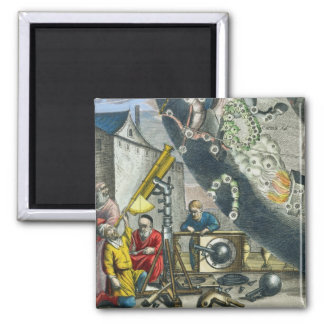 Astronomers looking through a telescope, detail fr refrigerator magnet
