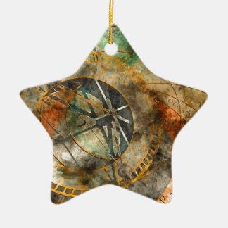 Astronomical clock in Prague, Czech Republic Ceramic Star Ornament