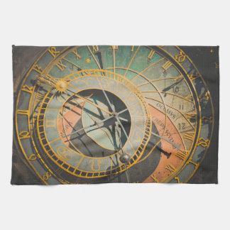 Astronomical Clock in Prague Czech Republic Kitchen Towel