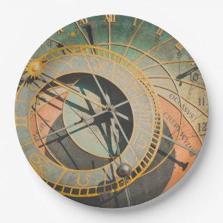 Astronomical Clock in Prague Czech Republic Paper Plate
