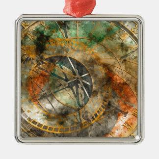 Astronomical clock in Prague, Czech Republic Silver-Colored Square Ornament