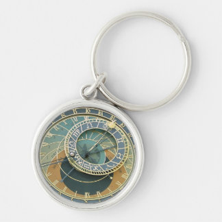 Astronomical Clock Silver-Colored Round Keychain