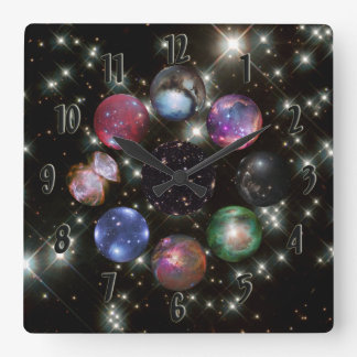 Astronomy Collage I Square Wall Clock