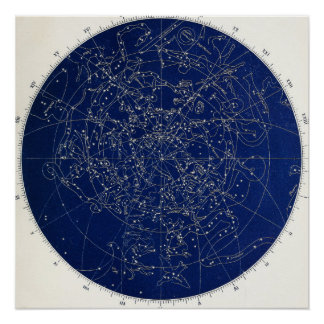 Astronomy Constellations Map Perfect Poster
