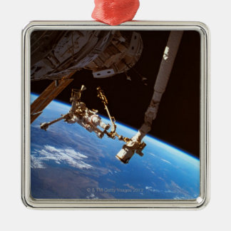 Astronuats Walking Silver-Colored Square Ornament