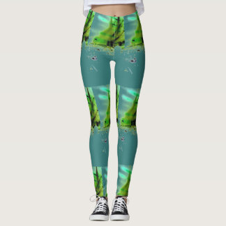 Asymetrical Print Turquoise and green leggings