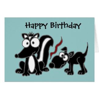 AT- Dog Sniffing Skunk Butt Cartoon Card