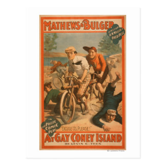 """""""At gay Coney Island"""" Musical Comedy Poster #1 Postcard"""