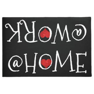 At Home At Work, Black White Typography Red Heart Doormat
