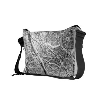 at home in snow messenger bag