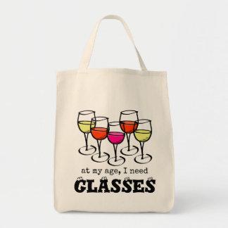 At My Age, I Need Glasses Wine Humor Tote Bag