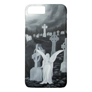 At night on the cemetery - Angel iPhone 7 Plus Case