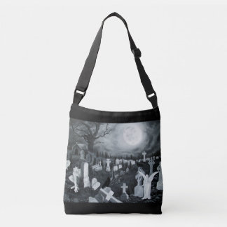 At night on the cemetery - Angel with Devil Crossbody Bag