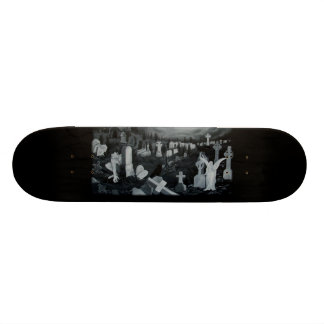 At night on the cemetery - angels with devil custom skateboard