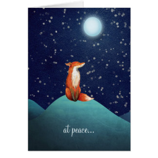 at peace ~ Charming Fox Sitting Under a Full Moon Card