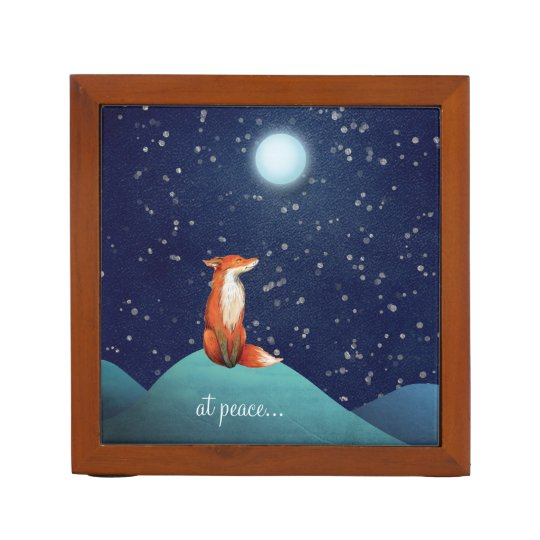 at peace ~ Charming Fox Sitting Under a Full Moon Desk Organizer
