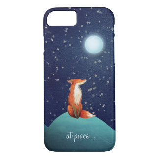 at peace ~ Charming Fox Sitting Under a Full Moon iPhone 7 Case