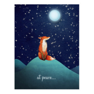 at peace ~ Charming Fox Sitting Under a Full Moon Postcard