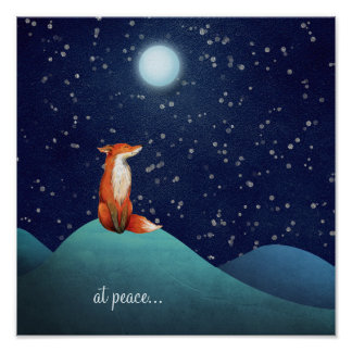 at peace ~ Charming Fox Sitting Under a Full Moon Poster