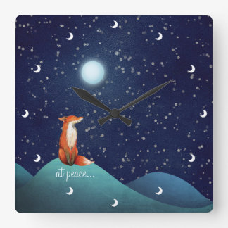 at peace ~ Charming Fox Sitting Under a Full Moon Wallclocks