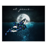 at peace ~ Full Moon Psychedelic Trippy Orca Whale Poster