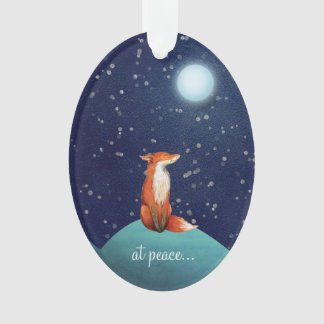 at peace ~ Personalized Cute Fox Under a Full Moon Ornament