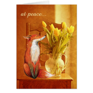 at peace ~ Rustic Country Charm Fox and Flowers Card