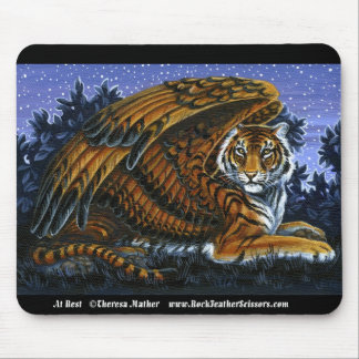At Rest Winged Tiger Mousepad