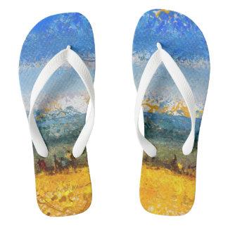 At the beach flip flops