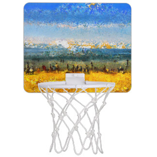 At the beach mini basketball hoop