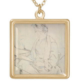 At the Cafe (pencil & ink on paper) Square Pendant Necklace