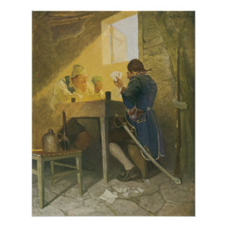 At the Cards in Cluny's Cage by NC Wyeth Poster