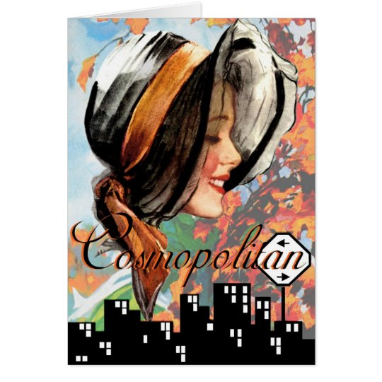 """""""AT THE DROP OF YOUR HAT"""" COSMO GIRL GREETING CARD"""