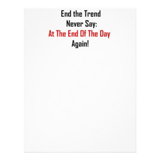 At The End Of The Day Letterhead