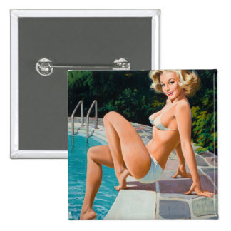 At the pool sexy blonde retro pinup girl 2 inch square button