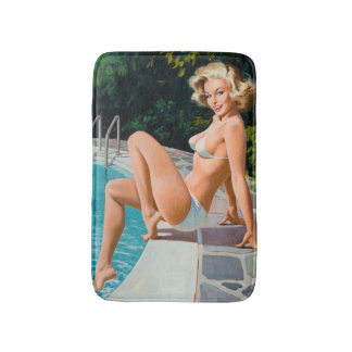 At the pool sexy blonde retro pinup girl bath mat