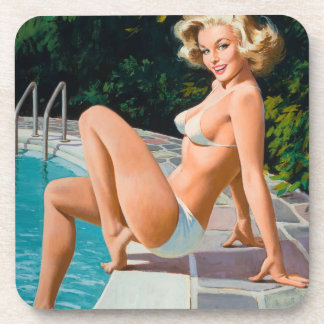 At the pool sexy blonde retro pinup girl coaster
