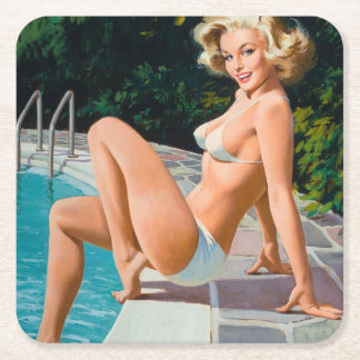At the pool sexy blonde retro pinup girl square paper coaster