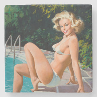 At the pool sexy blonde retro pinup girl stone coaster
