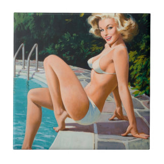 At the pool sexy blonde retro pinup girl tile
