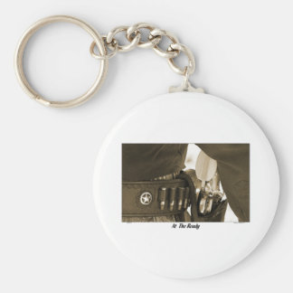 AT THE READY BASIC ROUND BUTTON KEYCHAIN