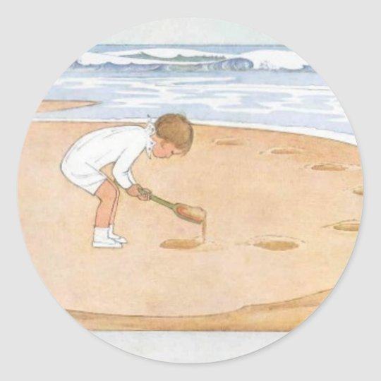 At the Seaside Vintage Illustration Classic Round Sticker