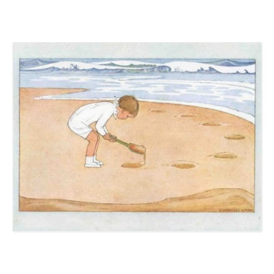 At the Seaside Vintage Postcard